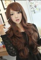 Brown Women Full Wigs Long Wave Sexy Lady Heat Resistant Hair Cosplay Wig 70cm