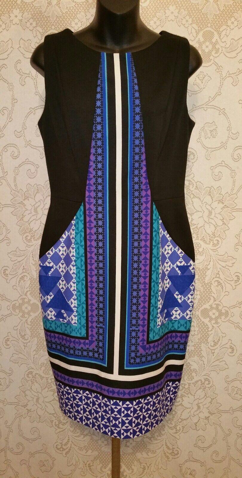 Ivanka Trump schwarz W Geometric Print Sleeveless Sheath Dress Sz 6
