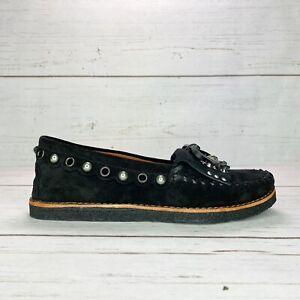 COACH Women Roccasin Slip On Black Suede Moccasins Flat Fur Lined G1210 Sz 6.5 8
