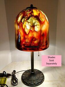 VINTAGE ART DECO ART NOUVEAU ARTS & CRAFT travail 2-Lumière Lampe de table bronze 1900-1940's