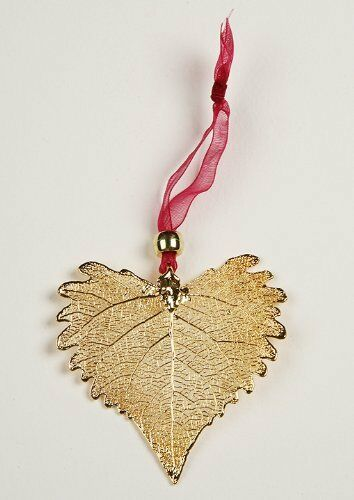 Ornament Cottonwood Heart Shaped Actual Leaf Gold Plated