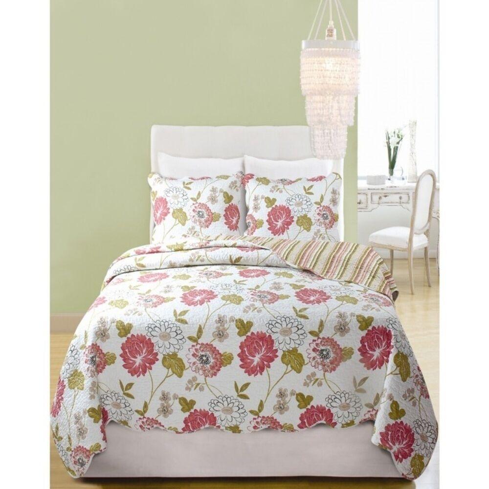Monina Jardin COMPLET QUEEN Couette  coton Cottage Rose SHABBY FLEURS