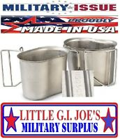 Military Issue Stainless Steel Canteen Cup 1qt Canteen W/butterfly Handles Used