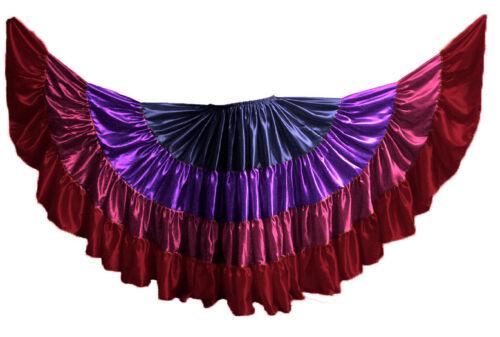 Multi Color Satin 16 Yard 4 Tier Skirt for Belly Dancing Tribal Jupe Gypsy Skirt