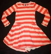 Boutique NO ADDED SUGAR Crocodile Tiers Pink Red Stripe Bustle Dress 5 6 7 8