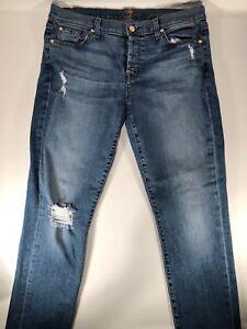 Womens-7-FOR-ALL-MANKIND-Josefina-Skinny-Boyfriend-Jeans-Size-30-x-29-Distressed