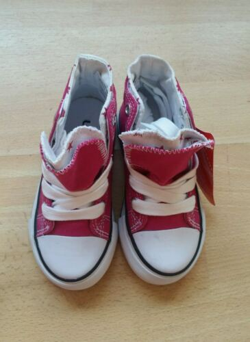 Filles Coccinelle Rose Montantes Toile Baskets Tailles 4//21-12//31 NEUF
