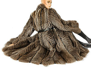 2xl Fur Braun Raccoon Leder Waschbär Coat Pelzmantel Swinger Pelz Mit Gestreift rRzrHqx