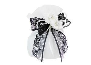 Bomboniera-Sacchetto-Organza-Bianco-B-W-Fiori-Strass-Wedding-matrimonio