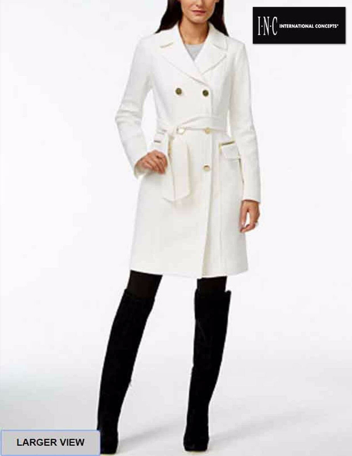 NWT  Sz M Inc International Concepts  Double Breasted White Belted Coat