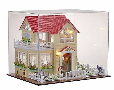 New Dollhouse Miniature DIY Kit Dolls House With Cover Gift Princess Cottage