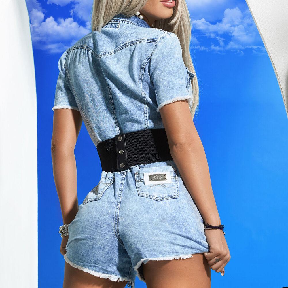 By Alina Mexton Jeans Femmes Overall Jumpsuit Pantalon Court Combinaison-shorts Xs-m