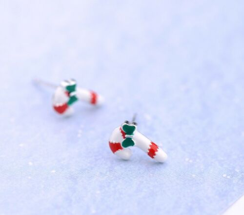 925 Solid Sterling Silver Ear Studs Earrings Candy Cane Christmas