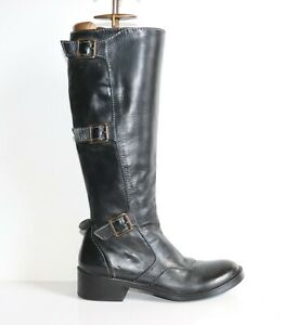 Women-039-s-JUST-IT-Knee-High-Black-100-Genuine-Leather-Riding-Boots-UK2-EUR35