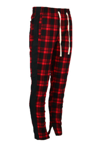 Men/'s Plaid Checkered Casual Stretch Skinny Track Jogger Pants with Ankle Zip