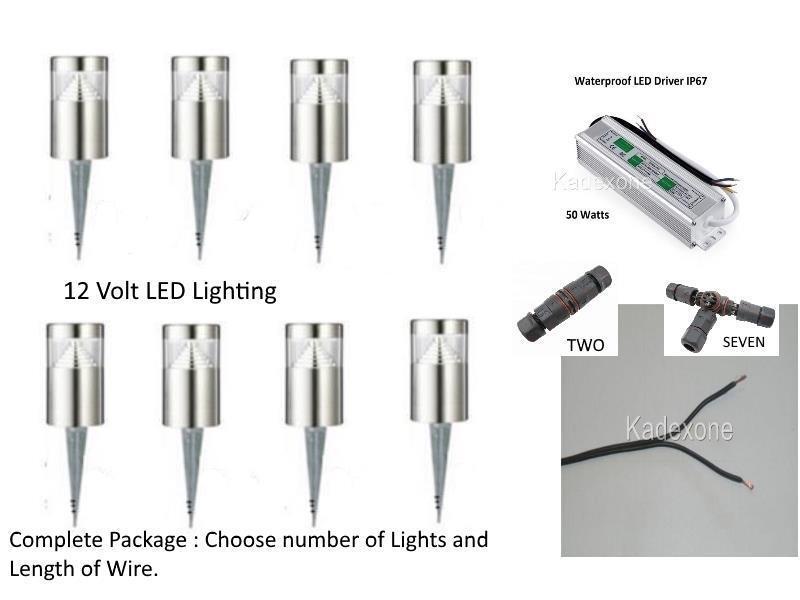 Stainless Steel outdoor 15cm bollard garden light kit spike 12v volt  LED Driver