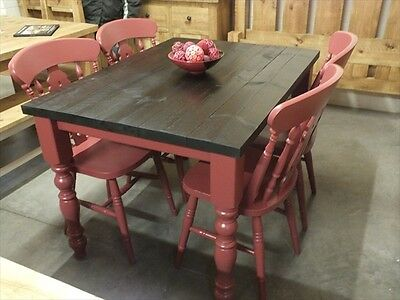 Reclaimed 4 X3 Painted Dining Kitchen Table Handmade Eating Room Red Ebay