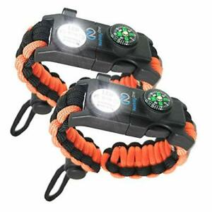 Survival Paracord Bracelet - Tactical Emergency Gear Kit with SOS LED Light,