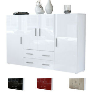 highboard sideboard kommode schrank m bel anrichte tv nora in wei hochglanz ebay. Black Bedroom Furniture Sets. Home Design Ideas