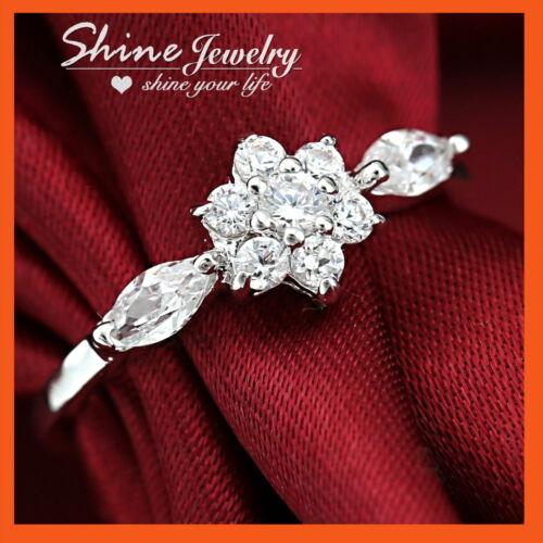 18K YELLOW WHITE GOLD GF SIMULATED DIAMOND CLUSTER LADY GIRL FLOWER WEDDING RING