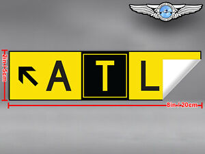 2x-DIECUT-ATL-ATLANTA-AIRPORT-TAXIWAY-SIGN-DECAL-STICKER-8x2in-20x5cm