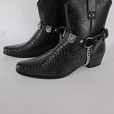 Biker Men Western Boot Silver Chain Pair Leather Straps POW MIA NOT FORGOTTEN