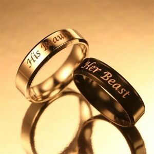 1 Pcs Her Beast His Beauty Ring Couple Rings Wedding Engagement ...