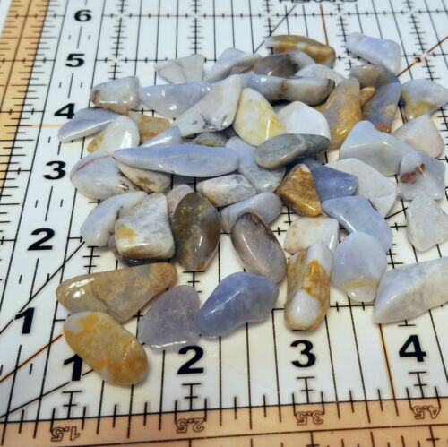 1//4 lb 45-55 TUMBLED BLUE CHALCEDONY Crystals