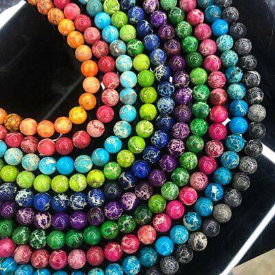 1 Strand Colorful Sea Sediment Jasper Ball Loose Beads 15.5inch QA2
