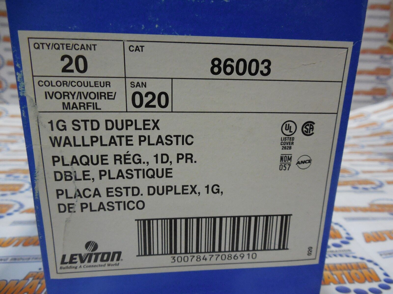 ,IVORY COLOR 20//BX LEVITON 86003 DUPLEX RECEPTACLE WALL PLATE