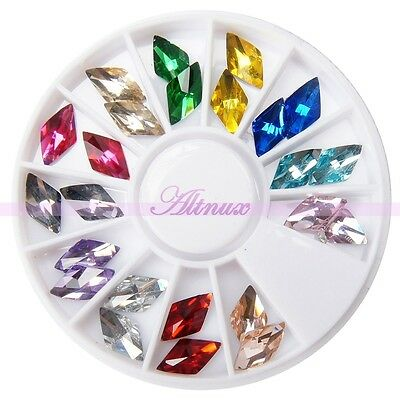 Shiny Diamond Shape Rhinestone Gems Plat Back Stud Nail Art Salon Decor Wheels