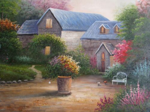 countryside house landscape large oil painting canvas modern colourful village
