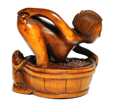 "Q4269-2/"" Hand Carved Japanese Boxwood Netsuke Oriental Couple"