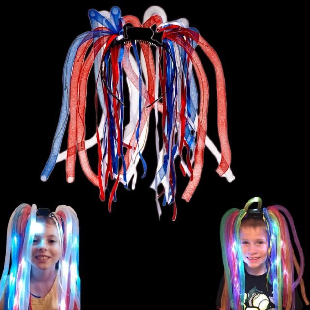 Hair Extensions Red White And Blue Led Illuminated Light Up Party
