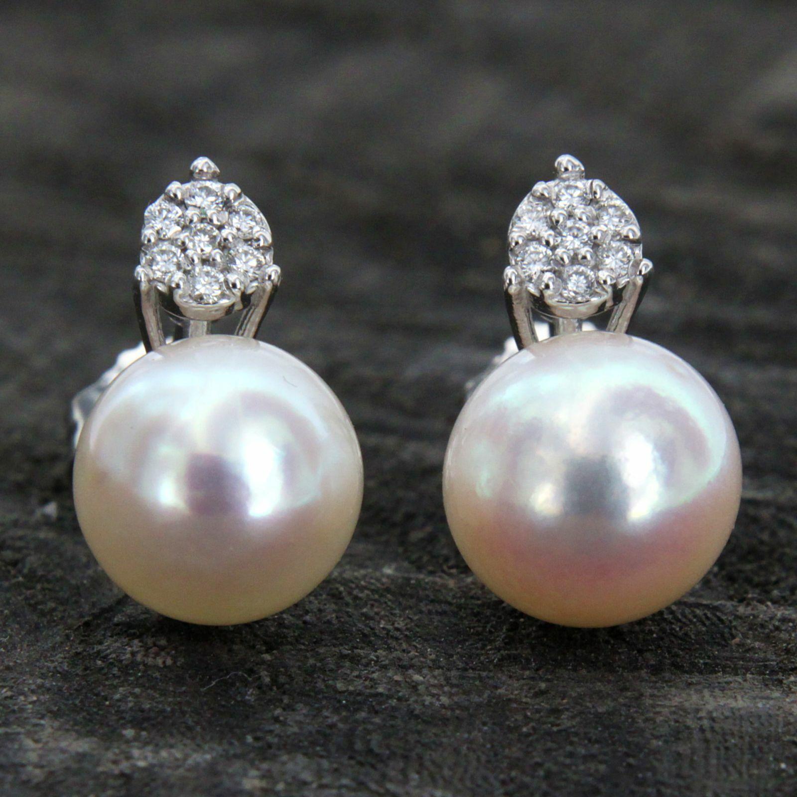 Genuine Pearl /& Diamond Stud Earrings in 14K Solid Yellow Gold Handmade Jewelry Gift