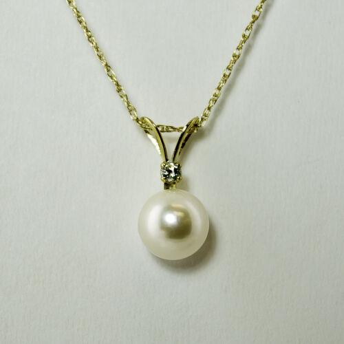 """perle et diamant pendentif en 14K or Jaune comprend 16/"""" Chaîne Pearlpalooza!!!"""