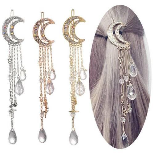 Moon Crystal Rhinestone Beads Dangle Hairpin Hair Clip Women Lady Bridal Jewelry