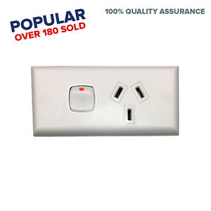 Skirting-Single-GPO-Power-Point-White-Narrow-Switch-Electrical-Accessories