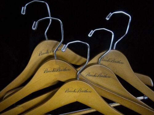 BROOKS BROTHERS Wooden Hangers New 5 Pcs  BB LOGO  Suit Pants Shirt