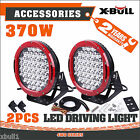 Pair 9inch 370w CREE LED Driving Light Red Round Spotlight BAR Offroad HID