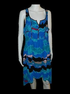 I Heart Ronson Multi Color Watercolor Print Asymmetrical Hem Sleeveless Dress 14