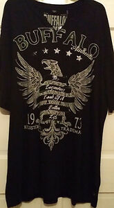 Mens-T-shirt-Black-Buffalo-David-Bitton-Vee-at-Round-Neckline-Soft-S-S-NWT-XLT