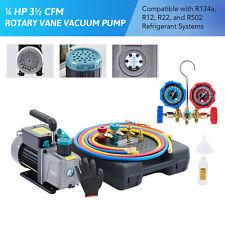 14 Hp 35cfm Automotive Ac Vacuum Pump Amp Manifold Gauge Set Can Tap Amp 3 Hoses