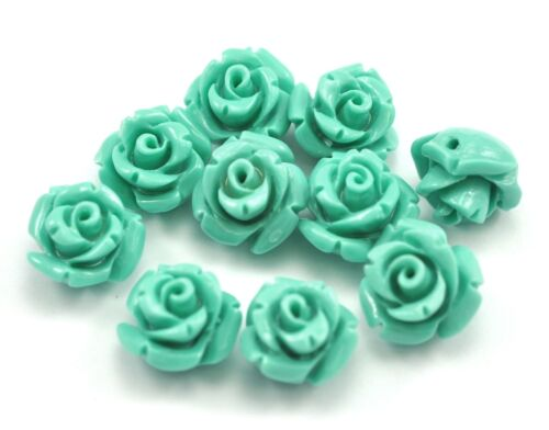 20x Size 10mm Resin Plastic Rose Flower Beads for Sewing Jewellery Making Craft