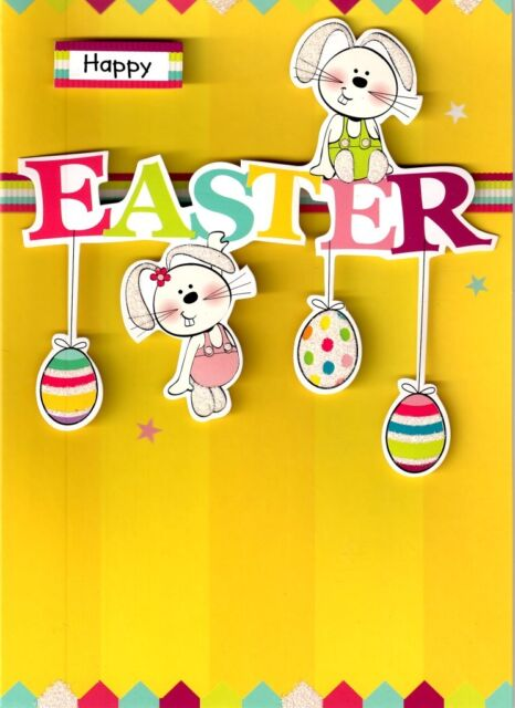 Happy Easter To You Cute Easter Bunnies Card Embellished 3D Greeting Cards