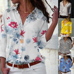 Mode-Damen-Casual-lose-Print-V-Ausschnitt-Print-Button-Bluse-Pullover-Tops-Shirt