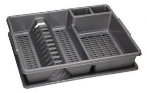 silver-GREY-Dish-Rack-Drainer-Plate-Cutlery-Utensil-Holder-with-Dripping-Tray