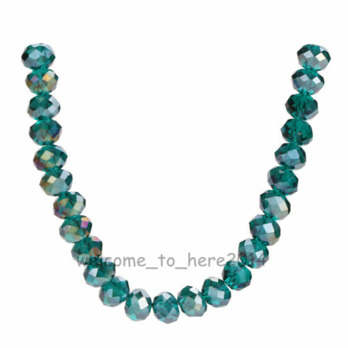 100//500pcs 6x4mm Faceted Glass Crystal Rondelle Loose Beads 111Colors Findings