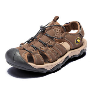 Men-039-s-Summer-Hiking-Leather-Sandals-Wading-Closed-Toe-Fisherman-Soft-Beach-Shoes