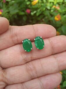 7-0x10-0mm-FOREST-GREEN-DOUBLET-EMERALD-with-Natural-Quartz-925-Silver-EARRINGS